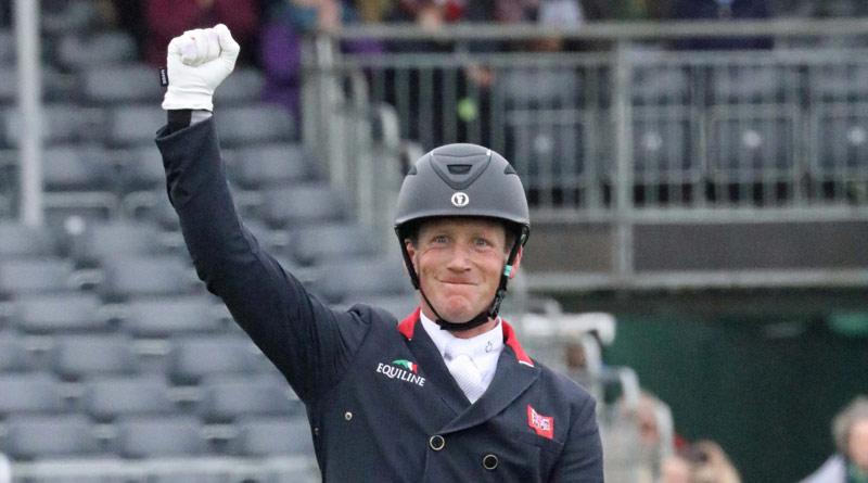 Badminton dressage leader Oliver Townend celebrates on Cillnabradden Evo after posting a score of 19.7.