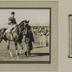 A window mounted original photograph of Phar Lap at the 1930 Melbourne Cup with the official programme has a pre auction estimate of $12,000.