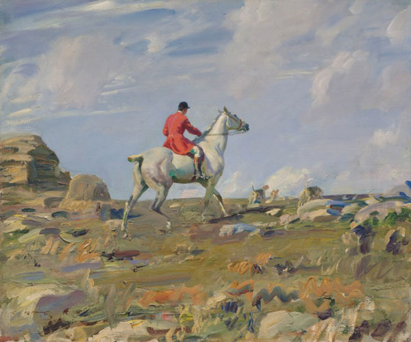 Ned Osborne on 'Grey Tick', Zennor Hill, Cornwall, by Alfred Munnings