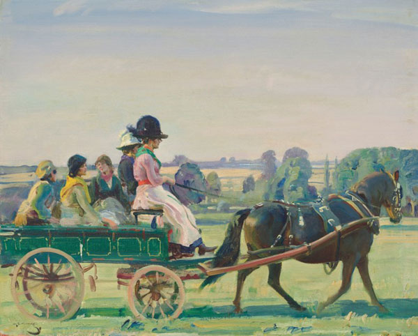 The Green Waggon by AJ Munnings is estimated to bring between £300,000 and £500,000 at auction next month.