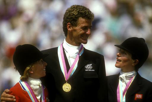 Mark Todd with Karen Stives, left, and Ginny Holgate on the podium at the 1984 Olympic Games.