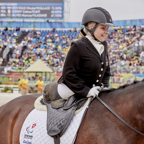 Para Dressage is one of five sports that has been added to the live broadcast schedule for the Tokyo 2020 Paralympic Games. Pictured is Stinna Tange Kaastrup, of Denmark, and Horsebo Smarties, winners of individual Para Dressage Grade II Freestyle gold at the FEI World Equestrian Games 2018.