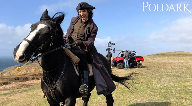 Aidan Turner during the filming of Poldark on the Cornwall coast.