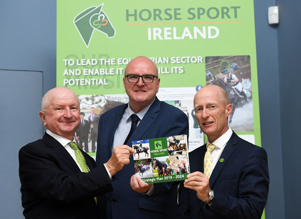 From left, HSI chairman Joe Reynolds, Sport Ireland's Paul McDermott and HSI CEO Ronan Murphy during the Horse Sport Ireland Strategic Plan 2019 - 2024 launch at Minerva Suite, RDS in Dublin.