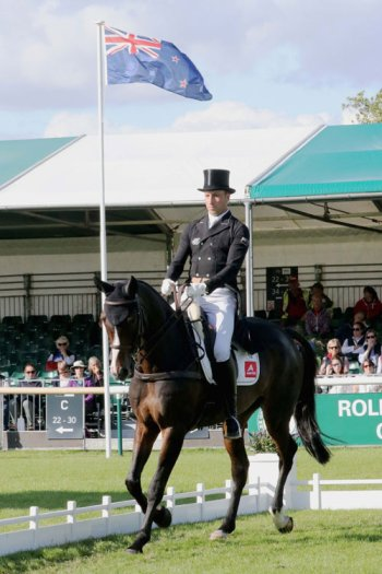 New Zealand's Tim Price is second on Bango and eighth on Xavier Faer (pictured) after the first day of dressage at Burghley.