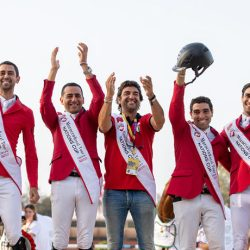 The Egyptian team of Mohamed Taher Zeyada, Nayel Nassar, Abdel Said and Sameh El Dahan, pictured with Chef d'Equipe Eng Hesham Hatab, won the Group F Olympic Jumping qualifier at Rabat in Morocco and earned one of the two places on offer for the Tokyo 2020 Olympic Games. © FEI/Jessica Rodrigues