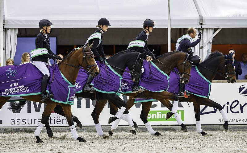 Michael Jung leads the German victory lap at the final leg of the FEI Eventing Nations Cup 2019 series in Boekelo, The Netherlands on Sunday, where Switzerland claimed the sole qualifying spot on offer for the Tokyo 2020 Olympic Games.