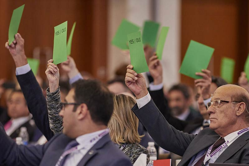 Voting at the FEI's General Assembly in Moscow.
