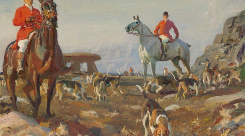 Huntsmen with hounds, Zennor Hill, Cornwall, by Sir Alfred Munnings.