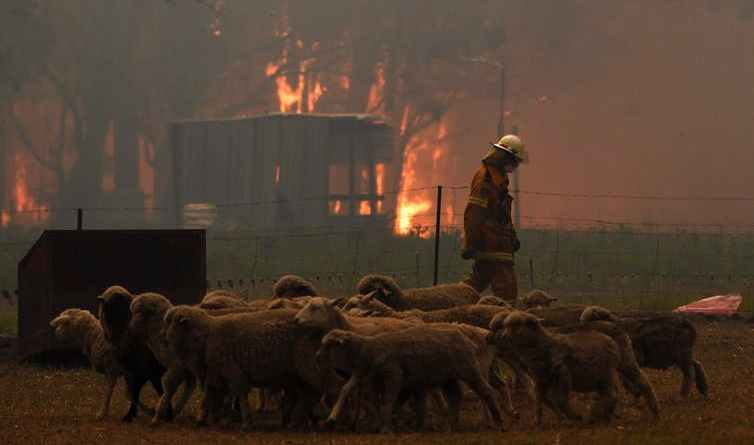 A rural fire service crew attempts to protect a property in New South Wales in December 2019.