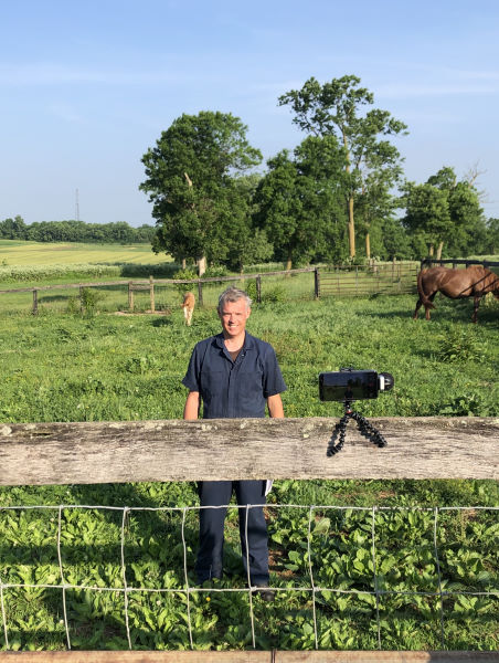 Martin Nielsen filming one of the videos in his equine parasite series.
