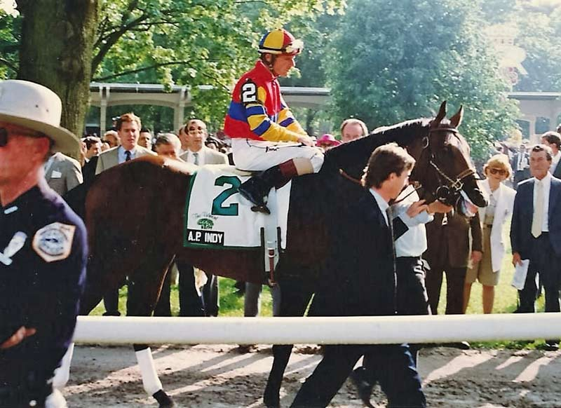 A.P. Indy before the 1992 Belmont Stakes, with Eddie J. Delahoussaye up.