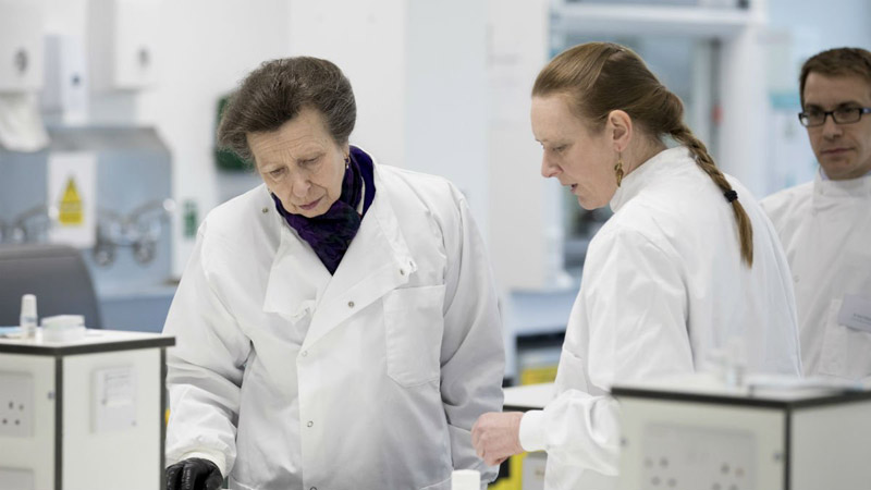 Princess Anne, the Princess Royal, toured the Large Animal Clinical Skills Facilities after she officially opened it on Thursday.