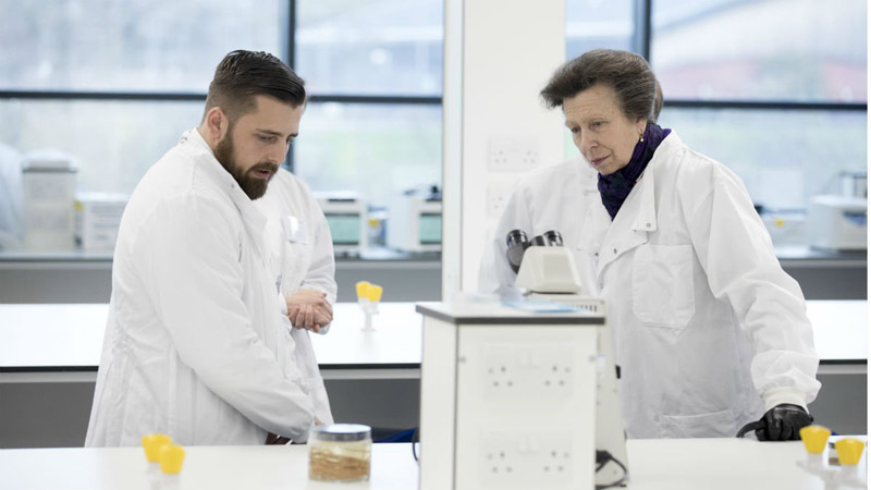 Princess Anne, the Princess Royal, met  staff and students and learned more about their work at the Large Animal Clinical Skills Facilities at the University of Surrey's School of Veterinary Medicine.