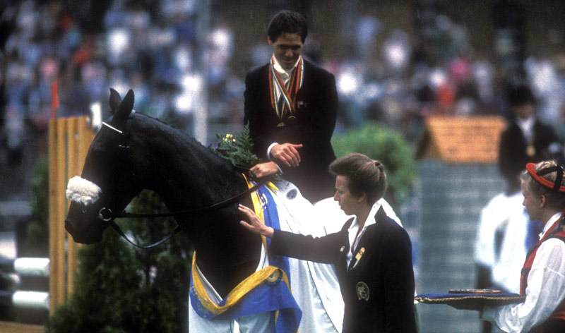 Blyth Tait and Messiah are congratulated by Princess Anne after winning the 1990 World Eventing Championship.