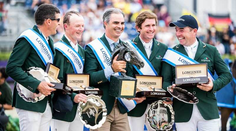 Team Ireland celebrates its win on the podium at Longines FEI Jumping Nations Cup Final at the Real Club de Polo in Barcelona in 2019. From left, Paul O'Shea, Peter Moloney, Chef d'Equipe Rodrigo Pessoa, Darragh Kenny and Cian O'Connor.