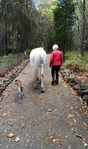 Ru and Jackie on one of their walks.