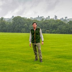 David Howden on the newly levelled and turfed main arena of the horse trials. © Rupert Gibson Photography