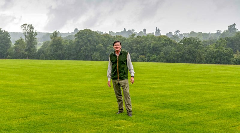 David Howden on the newly levelled and turfed main arena of the horse trials.