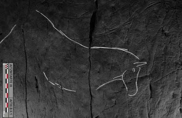 A and tracing of the horse dubbed B.II.1, engraved on the right-hand wall in Aitzbitarte Cave III
