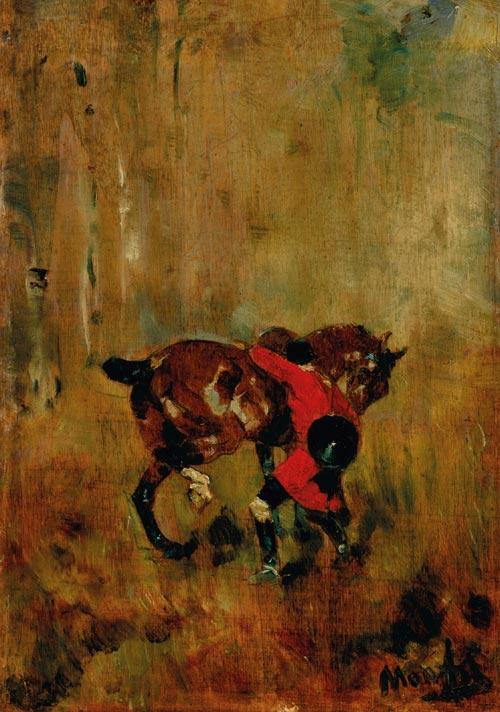 Henri de Toulouse-Lautrec's 1879 work Cavalier de chasse à courre ressanglant son cheval.