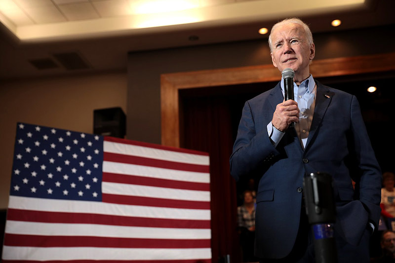 Joe Biden speaking with supporters at a community event at Sun City MacDonald Ranch in Henderson, Nevada.