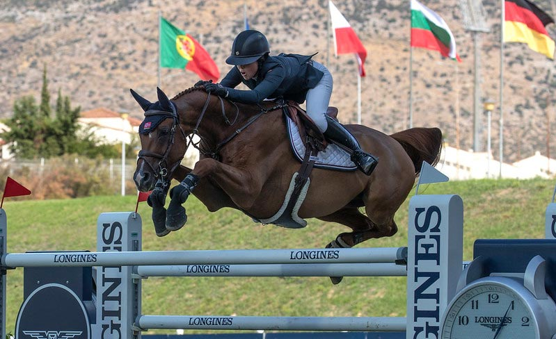 Victoria Gulliksen of Norway rides Papa Roach to victory during the Longines FEI Jumping Nations Cup of Greece at Markopoulo Olympic Stadium Equestrian Center in July, 2019