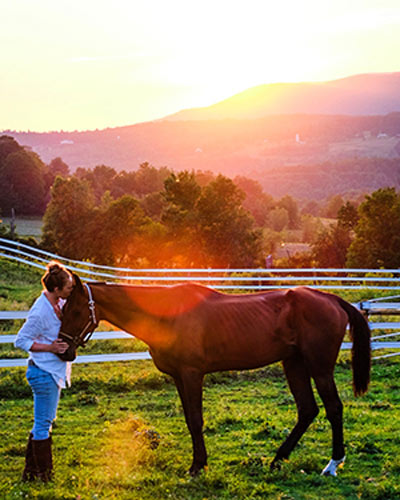 Olivia Alcorta with Abe soon after his arrival at Storeybrook Farm.