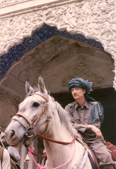 CuChullaine O'Reilly, who rode through Pakistan, with his mount, Pasha.