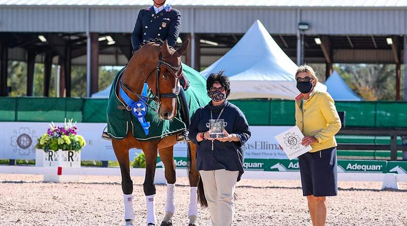 Steffen Peters and Suppenkasper in their awards presentation with Betsy Juliano of Havensafe Farm, and Judge at C Elke Ebert.