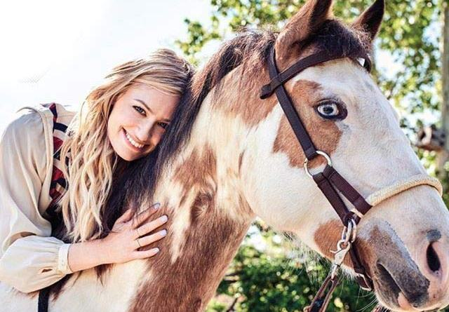 Beth Behrs and her rescue horse, Belle.
