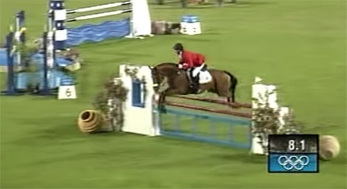 Amy Tryon and Poggion II at the 2004 Athens Olympics. From a video by Albykins