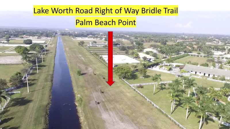 An aerial photo showing the Lake Worth Road Right of Way Trail.