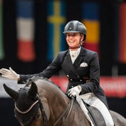 Jessica von Bredow-Werndl and TSF Dalera BB, pictured after winning the FEI Dressage World Cup in Salzburg, Austria, in January 2021. © FEI/Łukasz Kowalski