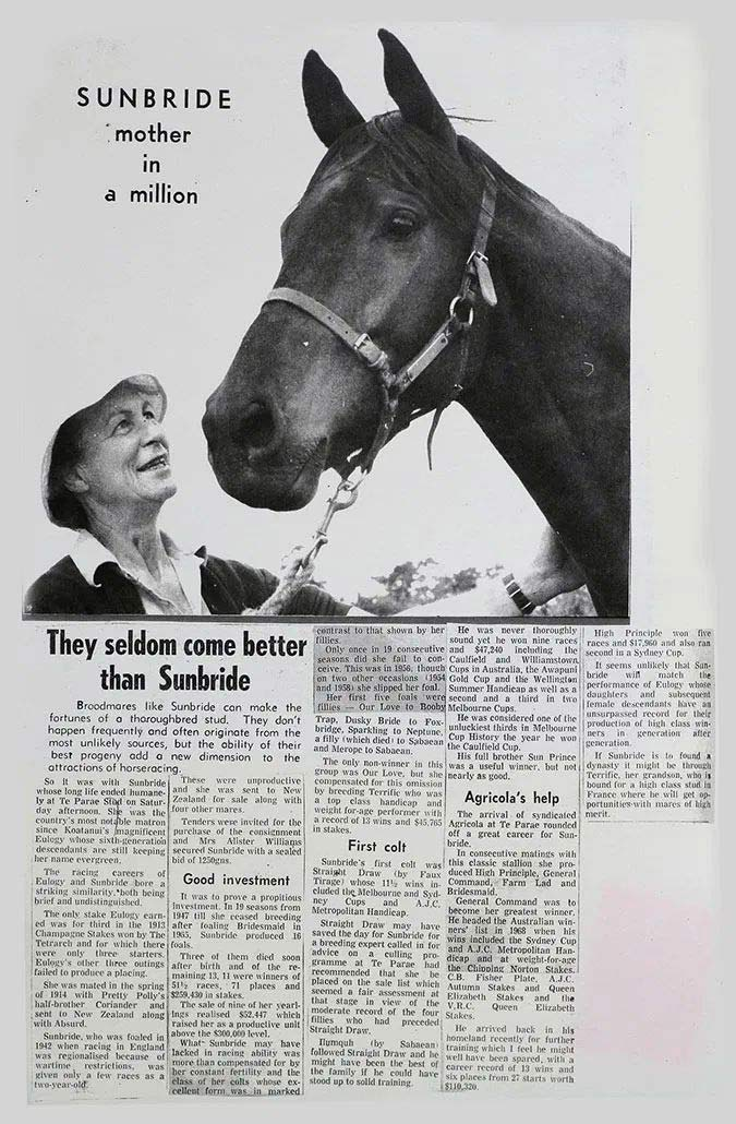 A clipping of Nancy Williams and Sunbride.
