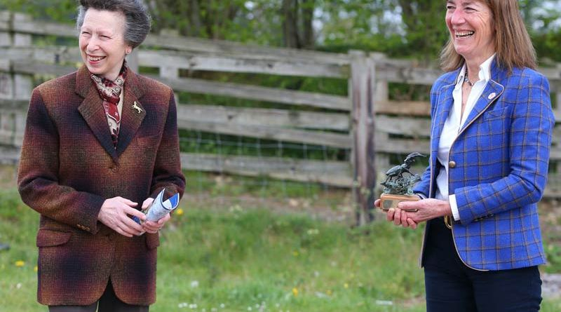 The Princess Royal presented Claire Williams with the National Equine Forum (NEF) Special Covid-19 Sir Colin Spedding Award 2021 at Gatcombe on April 29.