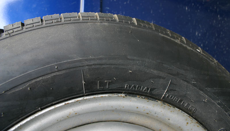 Car tyre or light truck tyre? Light truck tyres should carry an LT marking.