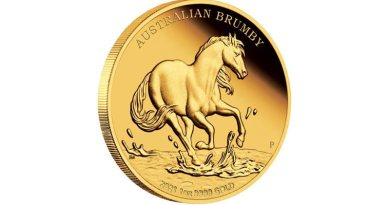 Perth Mint's $100 gold coin, the second in its Brumby series.