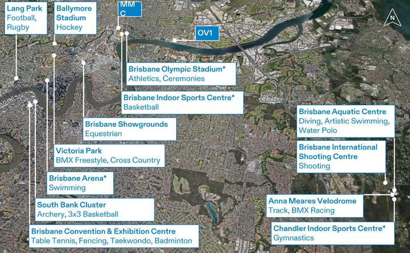 Proposed Olympic venues for Brisbane 2032.