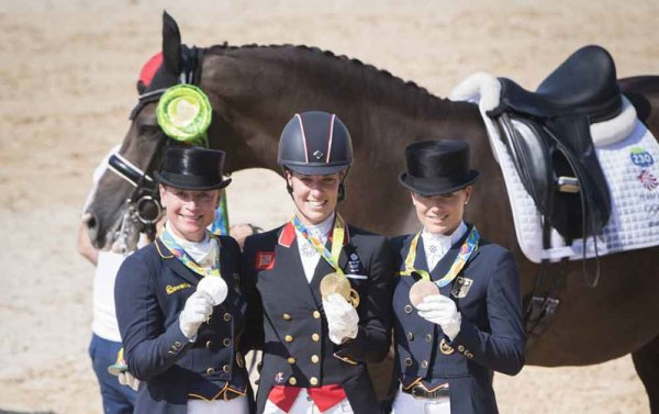Individual Freestyle medalists at Rio 2016, from left Isabell Werth, Charlotte Dujardin and Kristina Bröring-Sprehe.