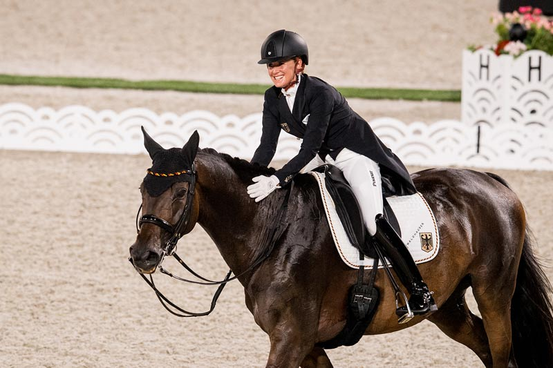 Jessica von Bredow-Werndl produced a personal best and the biggest score of the evening in the dressage Grand Prix on TSF Dalera to get Germany off to a great start at the Tokyo 2020 Olympic Games.