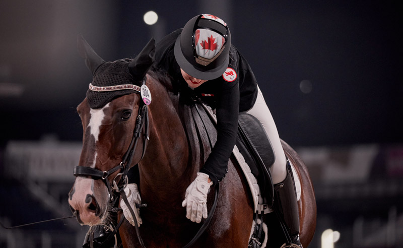 Canada's Roberta Sheffield scored 72.000 on Fairuza in Grade 3 on the first day of the Para dressage team competition at the Tokyo 2020 Paralympics.