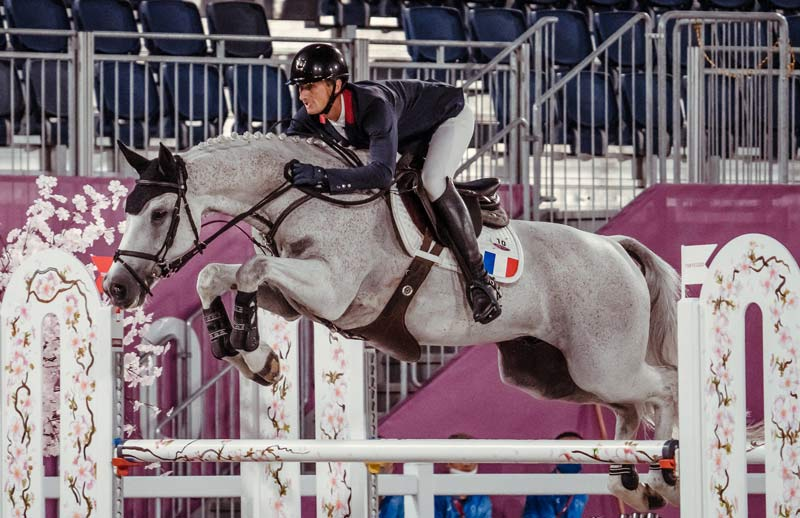 French team member Christopher Six and Totem De Brecey on their way to winning team eventing bronze at Tokyo 2020.