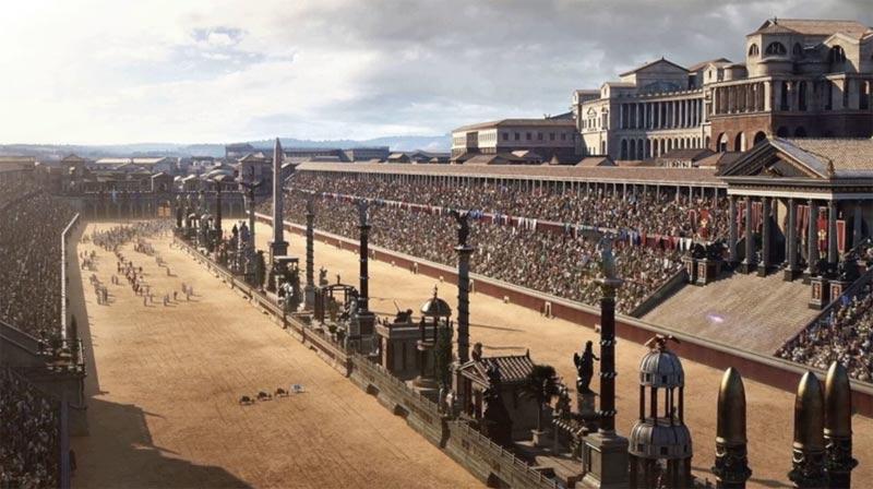 An artist's impression of Rome's Circo Massimo.