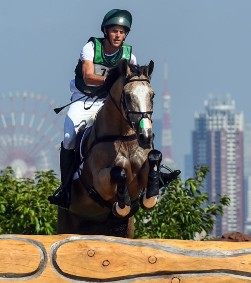Sam Watson and Tullabeg Flamenco on the Tokyo 2020 cross-country.
