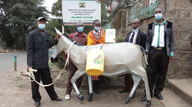 Donkey owners from the Alliance for Donkey Workers of Kenya (ADWOK) hand in a petition to the Government to ask for a fresh ban on the donkey skin trade.