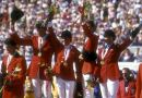 Melanie Smith, at right, with the US team after winning showjumping gold on home soil. She is with, from left, Joe Fargis, Leslie Burr, and Conrad Holmfeld.