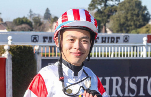 Yong Chew pictured after his debut win aboard Dr Velocious in August 2020.
