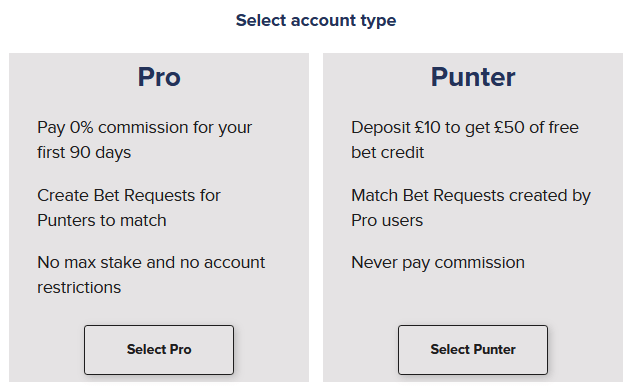 choose your account type on betconnect