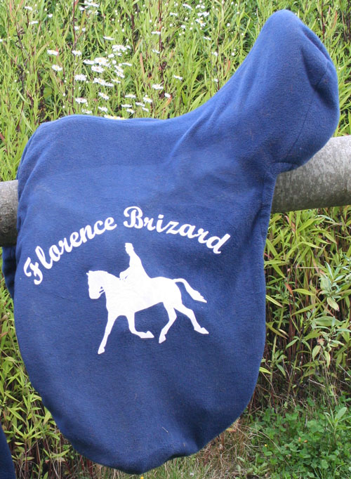 fleece saddle cover with heat press lettering